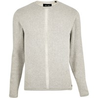 Only And Sons River Island Mens Ecru Knitted Jumper Beige