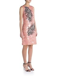 Emilio Pucci Pailette Lace Feather Embroidered Dress Pink