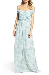 Jenny Yoo Women's 'Nyla' Floral Print Convertible Strapless Chiffon Gown Mist Multi