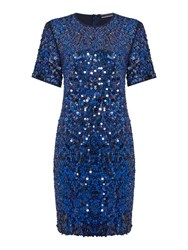 Sportmax Code Bye Cap Sleeve Sequin Shift Dress Navy