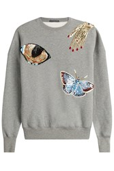 Alexander Mcqueen Embellished Cotton Sweatshirt Grey
