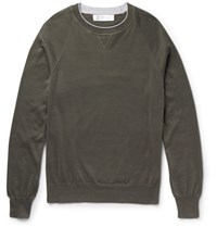 Brunello Cucinelli Contrast Tipped Cotton Sweater Army Green