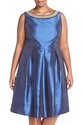 Sangria Embellished Taffeta Party Dress Plus Size Dusk