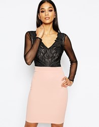 Lipsy 2 In 1 Plunge Lace Applique Top And Pencil Skirt Blacknude