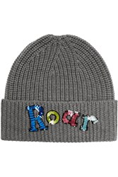 Markus Lupfer Roar Sequined Merino Wool Beanie Gray
