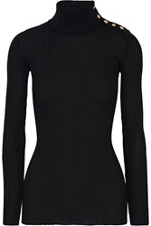 Balmain Embellished Ribbed Wool Turtleneck Sweater Black