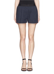 3.1 Phillip Lim Elastic Back Waist Eyelet Lace Shorts Blue