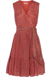 Issa Printed Silk And Cotton Blend Wrap Effect Dress Orange