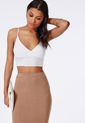 Missguided Jersey Wrap Over Bralet White White