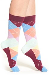 Happy Socks Women's Argyle Crew Purple