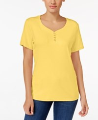 Karen Scott Henley T Shirt Only At Macy's Buttercup Yellow
