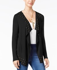 Thalia Sodi Grommet Trim Open Front Draped Cardigan Only At Macy's Black
