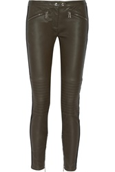 Belstaff Paneled Leather And Stretch Twill Skinny Pants Green