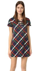 J.O.A. Plaid Lace Up Dress Navy Multi