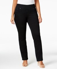 Jag Plus Size Peri Pull On Straight Leg Jeans Black