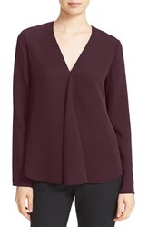 Theory Women's 'Meniph' V Neck Silk Georgette Blouse Sumac