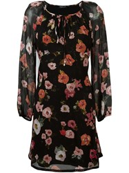 Twin Set Floral Print Tunic Dress Black
