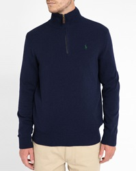 Polo Ralph Lauren Marled Navy Demi Zip Woollen Sweater