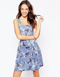 Yumi Palm Print Dress With Cut Out Dress Blue