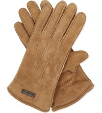 Burberry Oscar Shearling Lined Suede Gloves Brown