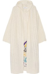 Elizabeth And James Embroidered Knitted Hooded Cardigan White