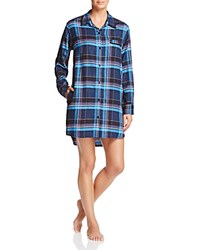 Dkny Intimates Long Sleeve Flannel Boyfriend Sleepshirt Peacoat Heather Plaid