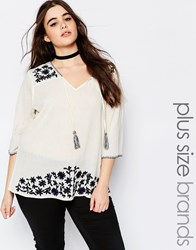 Alice And You Embroidered Peasant Blouse With Tassels Cream