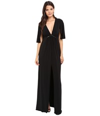 Halston Short Flounce V Neck Jersey Gown Black Women's Dress