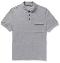 Berluti Leather Trimmed Cotton Pique Polo Shirt Gray