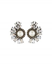 Lydell Nyc Crystal And Simulated Pearl Cluster Stud Earrings Multi