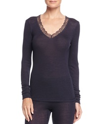 Hanro Woolen Silk Long Sleeve Top Midnight Black