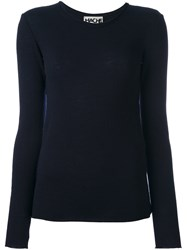 Hache Frayed Collar Jumper Blue