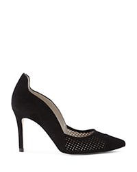 Karen Millen Perforated Pointed Toe Court Pumps Black