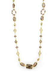Azaara 22K Yellow Gold And Smoky Topaz Station Necklace Gold Multi