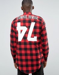 Criminal Damage Longline Check Shirt With Back Print Red