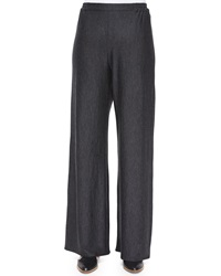 Eskandar Flared Wide Leg Trousers Charcoal