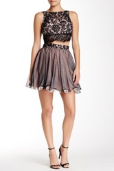As U Wish Sleeveless Lace Tulle Two Piece Homecoming Dress Juniors Black
