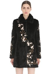 Ainea Floral Embroidered Faux Fur Coat