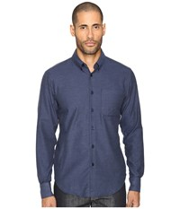 Naked And Famous Soft Yarn Dyed Twill Button Down Blue