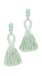 Oscar De La Renta Short Silk Tassel Clip On Earrings Mint