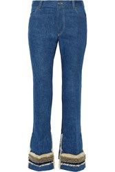 Toga Faux Shearling Trimmed Embellished High Rise Flared Jeans Blue