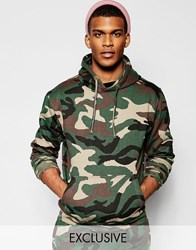 Reclaimed Vintage Oversized Camo Hoodie With Distressed Ribbing Green