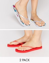 Asos Friendly Two Pack Flip Flops Ice Cream And Coral