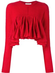 Philosophy Di Lorenzo Serafini Ruffled Cropped Jumper Red