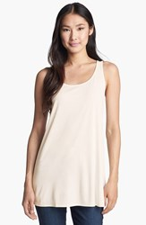 Petite Women's Eileen Fisher Scoop Neck Silk Tunic Soft White