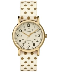 Timex Women's Weekender Champagne Polka Dot Nylon Strap Watch 31Mm Tw2p65400