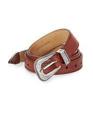 Brunello Cucinelli Etched Detail Leather Belt Warm Brown