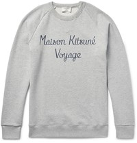 Maison Kitsune Printed Loopback Cotton Jersey Sweatshirt Gray