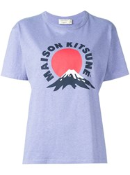Maison Kitsune Logo Print T Shirt Pink And Purple
