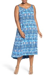 Sejour Plus Size Women's Print High Low Sundress Blue Navy Print